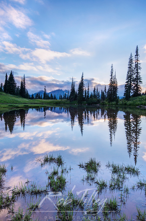 USA, WA, Mt. Rainier NP,Tipsoo Lake Sunset
