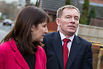 © Joel Goodman - 07973 332324 .  04/02/2014 . Sale , UK . Rachel Reeves and Chris Bryant . Rachel Reeves , MP for Leeds West and Shadow Secretary of State for Work and Pensions and Chris Bryant , MP for Rhondda and Shadow Minister for Welfare Reform , join Labour candidate Mike Kane on the campaign trail ahead of the Wythenshawe and Sale East by-election , following the death of MP Paul Goggins . They visit the home of Tony Gunning (51) who suffers from hereditary adult polycystic kidney disease and is on dialysis , who says he is affected by the bedroom tax . Photo credit : Joel Goodman