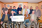 Lixnaw Vintage Club Presentation : Members of the Lixnaw Vintage Club making a presentation of a cheque for EUR4841.00 , the proceeds of a road run held on St. Stephens Day last to Dr. Declan Farrell, director of the Cork Cancer Research Centre in the railway Bar in Lixnaw on Friday night last..Front: Thomas McElligott, Dr. Declan Farrell, Micheal Fealy, John Foley & Jim McNama. Back : Paddy Lyons, Danny McElligott, Thomas Heaphy, Anthony Fealy, John Griffin, Eddie Carey, Paddy Costello & Matt Quinlan.