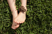 A Boy Plays with a Toad on His Feet