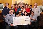 Ceara and Doreen Ryan on behalf of the Lourdes Palliative Care Unit, accept a cheque for EUR2000 raised by Gleesons, Foleys and The Star, Tullyallen in the Melifont Sheild Golf Competition.  Presenting the Cheque are Peter Kingston, Gleesons, Jimmy Foley, Foleys Bar, Mark Murphy, Keith Nolan, Ollie Kelly Michael Rossiter, Gavin Thornton, Liam Campbell and Bernard Campion. Missing from Photo are Tony Gough and Connor Cooney...(Photo credit should read Jenny Matthews www.newsfile.ie)....This Picture has been sent you under the condtions enclosed by:.Newsfile Ltd..The Studio,.Millmount Abbey,.Drogheda,.Co Meath..Ireland..Tel: +353(0)41-9871240.Fax: +353(0)41-9871260.GSM: +353(0)86-2500958.email: pictures@newsfile.ie.www.newsfile.ie.