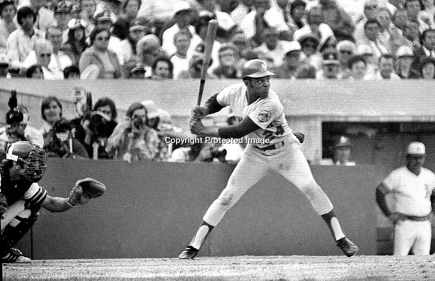 The great Willie Mays batting against the Oakland Athletics in the 1973 World Series in Oakland, Ca..<br />