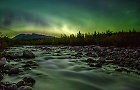 Fall landscape of Aurora Borealis (Northern Lights) and Granite Creek with Talkeetna Mountains in Matanuska Valley... Southcentral, Alaska<br /> <br /> Photo by Jeff Schultz/SchultzPhoto.com  (C) 2018  ALL RIGHTS RESERVED