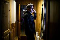 """Kirkenes, Norge, 08.02.2012. Traaviks telefon står ikke stille. Den 1. februar 2012 lastet kunstner Morten Traavik opp en videosnutt på You Tube av Nord-Koreanske ungdommer som spiller A-Ha hiten """"Take on Me"""" på trekkspill. En uke etter ha over en million mennesker sett videoen. En delegasjon Nord-Koreanere er i Kirkenes i forbindelse med festivalen """"Barents Spetakel"""". Foto: Christopher Olssøn"""