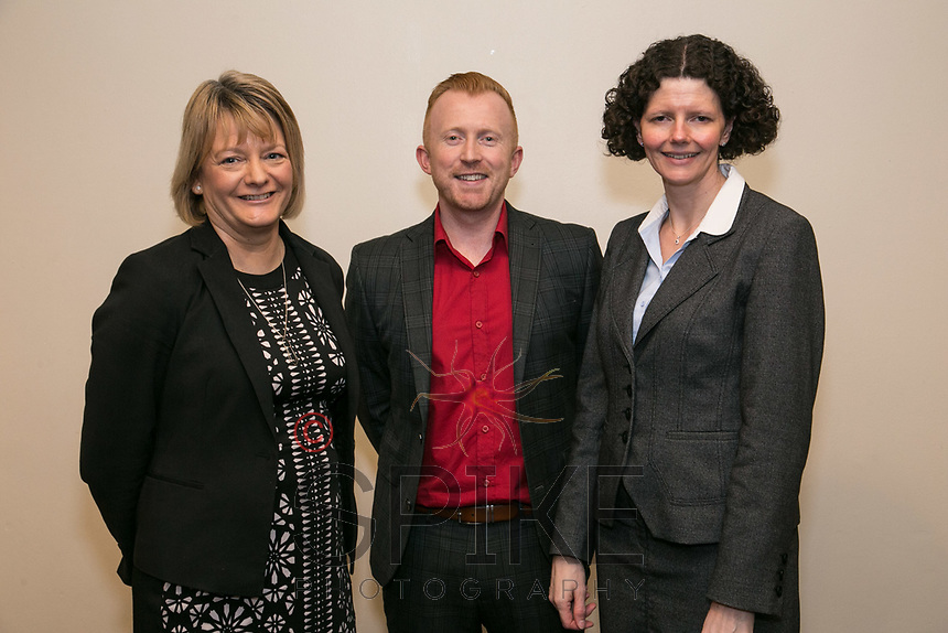Guest speaker Daniel Hill of Pulse Property Network with Amanda Gordon (left) and Caroline Pearson both of NCBC sponsors Actons