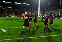 Beauden Barrett thanks fans after the Rugby Championship match between the NZ All Blacks and Argentina Pumas at Yarrow Stadium in New Plymouth, New Zealand on Saturday, 9 September 2017. Photo: Dave Lintott / lintottphoto.co.nz