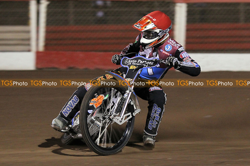 Heat 3: Peter Karlsson - Lakeside Hammers vs Peterborough Panthers - Sky Sports Elite League Speedway at Arena Essex Raceway, Purfleet - 14/09/12 - MANDATORY CREDIT: Gavin Ellis/TGSPHOTO - Self billing applies where appropriate - 0845 094 6026 - contact@tgsphoto.co.uk - NO UNPAID USE.