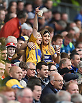 Clare fans celebrate a late Tony Kelly goal against Cork during the Munster Senior game at Pairc Ui Chaoimh. Photograph by John Kelly.