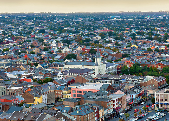 Elevated view of the French Quarter in New Orleans and the St. Louis Cathedral in Jackson Square.