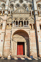 Main portal & facade of the 12th century Romanesque Ferrara Duomo, Italy