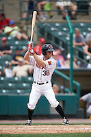 Rochester Red Wings third baseman Stephen Wickens (38) at bat during a game against the Indianapolis Indians on May 26, 2016 at Frontier Field in Rochester, New York.  Indianapolis defeated Rochester 5-2.  (Mike Janes/Four Seam Images)