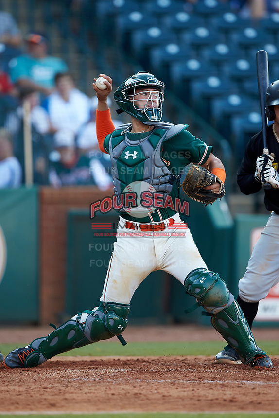 Greensboro Grasshoppers catcher Will Banfield (18) on defense against the West Virginia Power at First National Bank Field on August 9, 2018 in Greensboro, North Carolina. The Power defeated the Grasshoppers 5-3 in game one of a double-header. (Brian Westerholt/Four Seam Images)