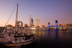 The Jacksonville harbor at sunset.