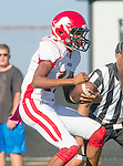 Palos Verdes, CA 10/09/15 - Travian Mcgee (Morningside #17) in action during the Morningside - Peninsula varsity football game.  Morning side defeated Peninsula 24-21.