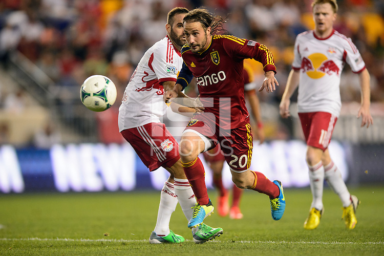 Ned Grabavoy (20) of Real Salt Lake. The New York Red Bulls defeated Real Salt Lake 4-3 during a Major League Soccer (MLS) match at Red Bull Arena in Harrison, NJ, on July 27, 2013.