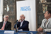 "Alain Fohr, French Cultural Councillor, Lucien Clergue, the french photographer and Jean-Jacques Beucler, director of the french institute,<br />   during  the opening of his exhibition called ""The Intimate Picasso"" at the french institute in Madrid"