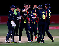 Adam Milne is mobbed after bowling Peter Siddle during the Vitality Blast T20 game between Kent Spitfires and Essex Eagles at the St Lawrence Ground, Canterbury, on Thu Aug 2, 2018