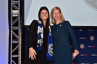 Los Angeles, CA - Thursday January 12, 2017: Madeline Bauer, Managing Director of Operations Amanda Duffy during the 2017 NWSL College Draft at JW Marriott Hotel.