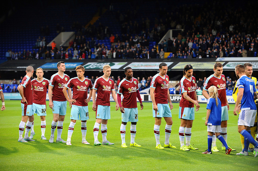 The Burnley players line up at the start of the match<br /> <br /> Photographer Ashley Pickering/CameraSport<br /> <br /> Football - The Football League Sky Bet Championship - Ipswich Town v Burnley - Tuesday 18th August 2015 - Portman Road - Ipswich<br /> <br /> &copy; CameraSport - 43 Linden Ave. Countesthorpe. Leicester. England. LE8 5PG - Tel: +44 (0) 116 277 4147 - admin@camerasport.com - www.camerasport.com