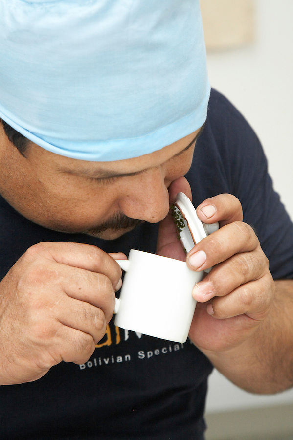 A technician sampling tea aroma in Chimate, a small community in the fertile Yungas region of Bolivia.