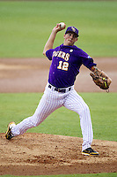 LSU Tigers pitcher Kevin Gausman #12 delivers a pitch during a rainstorm at the NCAA Super Regional baseball game against Stony Brook on June 9, 2012 at Alex Box Stadium in Baton Rouge, Louisiana. Stony Brook defeated LSU 3-1. (Andrew Woolley/Four Seam Images)