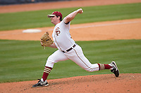 Relief pitcher John Gast #22 of the Florida State Seminoles in action versus the Virginia Cavaliers at Durham Bulls Athletic Park May 24, 2009 in Durham, North Carolina. The Virginia Cavaliers defeated the Florida State Seminoles 6-3 to win the 2009 ACC Baseball Championship.  (Photo by Brian Westerholt / Four Seam Images)