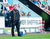 Blackpool manager Gary Bowyer shouts instructions to his team from the technical area<br /> <br /> Photographer Alex Dodd/CameraSport<br /> <br /> The EFL Sky Bet League One - Rotherham United v Blackpool - Saturday 5th May 2018 - New York Stadium - Rotherham<br /> <br /> World Copyright &copy; 2018 CameraSport. All rights reserved. 43 Linden Ave. Countesthorpe. Leicester. England. LE8 5PG - Tel: +44 (0) 116 277 4147 - admin@camerasport.com - www.camerasport.com