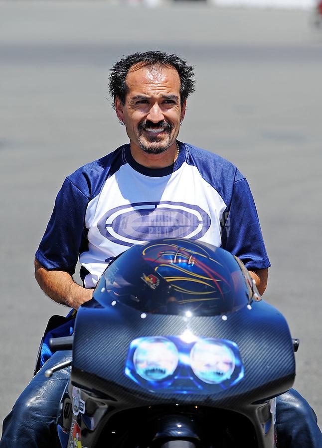 Jul. 17, 2010; Sonoma, CA, USA; NHRA pro stock motorcycle rider Freddie Camarena during qualifying for the Fram Autolite Nationals at Infineon Raceway. Mandatory Credit: Mark J. Rebilas-