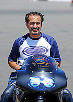 Jul. 17, 2010; Sonoma, CA, USA; NHRA pro stock motorcycle rider Freddie Camarena during qualifying for the Fram Autolite Nationals at Infineon Raceway. Mandatory Credit: Mark J. Rebilas-