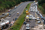 DURBAN - 2 June 2007 - The Netcare 911 helicopter lands as Emergency services on the M7 attend to an accident after a lorry (yellow) careened across the central medium into three oncoming cars..Two people were critically injured, one of whom was airlifted to St Augustine's Hospital..Picture: Giordano Stolley/Allied Picture Press