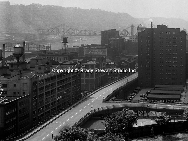 Pittsburgh PA: View of Pittsburgh businesses south of the Boulevard of the Allies from Duquesne University - 1932.