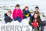 Roisin coffey, Grainne Swords, Cillian Coffey, Craig Brosnan and Ella Bartlett enjoying playing in the snow in Arbutus Grove Killarney on Saturday