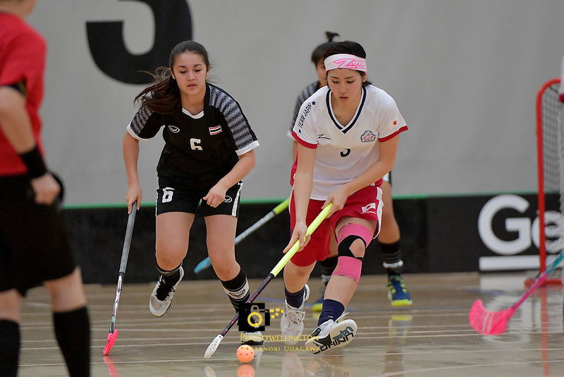 Japan's Yui Goto in action during the World Floorball Championships 2017 Qualification for Asia Oceania Region - Japan v Thailand at ASB Sports Centre , Wellington, New Zealand on Saturday 4 February 2017.<br /> Photo by Masanori Udagawa<br /> www.photowellington.photoshelter.com.