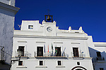 Ayuntamiento town hall in traditional whitewashed buildings in Vejer de la Frontera, Cadiz Province, Spain