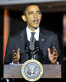 McLean, VA - October 6, 2009 -- United States President Barack Obama makes remarks as he visits the National Counterterrorism Center (NCTC) in McLean, VA on Tuesday, October 6, 2009..Credit: Ron Sachs / Pool via CNP