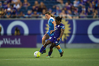 Orlando, FL - Saturday July 16, 2016: Arin Gilliland, Jasmyne Spencer during a regular season National Women's Soccer League (NWSL) match between the Orlando Pride and the Chicago Red Stars at Camping World Stadium.
