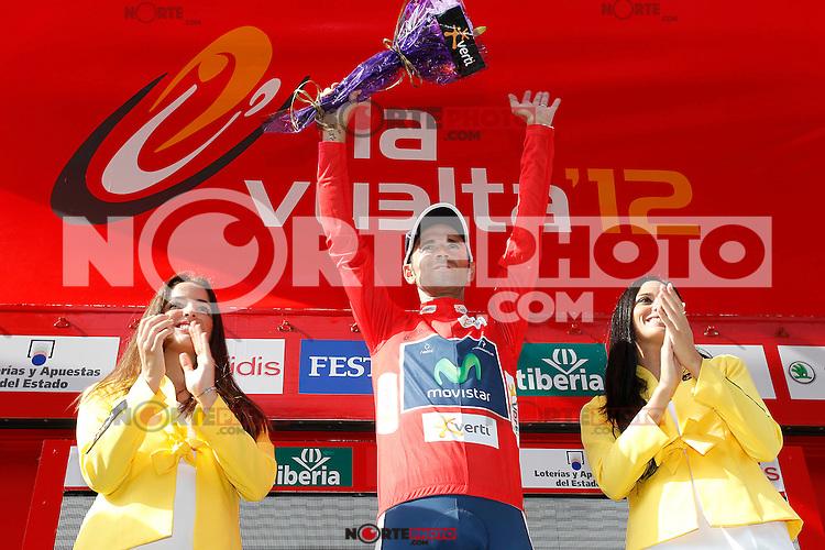 Alejandro Valverde with the leader's red jersey after the stage of La Vuelta 2012 between Faustino V and Eibar (Arrate).August 20,2012. (ALTERPHOTOS/Paola Otero) /NortePhoto.com<br /> <br /> **CREDITO*OBLIGATORIO** <br /> *No*Venta*A*Terceros*<br /> *No*Sale*So*third*<br /> *** No Se Permite Hacer Archivo**<br /> *No*Sale*So*third*