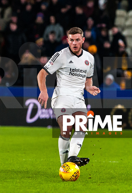 Sheffield United's defender Jack O'Connell (5) during the Sky Bet Championship match between Hull City and Sheff United at the KC Stadium, Kingston upon Hull, England on 23 February 2018. Photo by Stephen Buckley / PRiME Media Images.