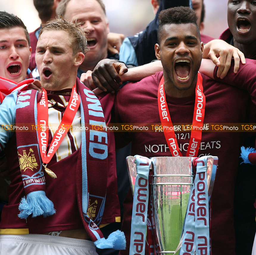 Jack Collison and Ricardo Vaz Te of West Ham with the trophy - Blackpool vs West Ham United , npower Championship Play-off Final at Wembley Stadium, London - 19/05/12 - MANDATORY CREDIT: Rob Newell/TGSPHOTO - Self billing applies where appropriate - 0845 094 6026 - contact@tgsphoto.co.uk - NO UNPAID USE..