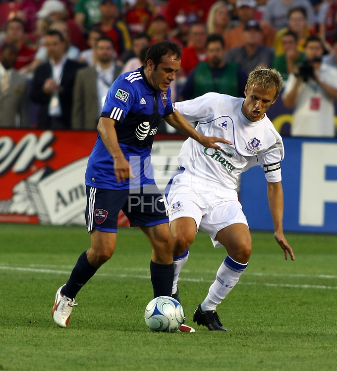 Cuauhtemoc Blanco and Philip Neville in the MLS All Stars v Everton 4-3 Everton win at Rio Tinto Stadium in Sandy, Utah on July 29, 2009