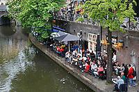 Terrasjes aan de Oudegracht in Utrecht