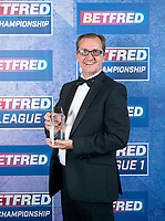 Picture by Allan McKenzie/SWpix.com - 25/09/2018 - Rugby League - Betfred Championship & League 1 Awards Dinner 2018 - The Principal Manchester- Manchester, England - Neil Reynolds with the Project of the Year awarded to London Broncos.