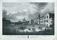 Internal courtyard of the Palais de l'Intendant, engraving by William Elliott after a drawing by Richard Short, published in 1761 as a collection of Views of Quebec in the 18th century, by Thomas Jefferys in London, in the collection of the Musees du Quebec, Quebec City, Quebec, Canada. The Intendant's Palace was destroyed in the late 18th century, and in 1852 the Doswell-Bow Brewery was built on the site. Picture by Manuel Cohen