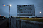 Gretna 0 Dalbeattie Star 0, 11/03/2016. Raydale Park, Lowland League. A club sign outside on a perimeter wall at Raydale Park before Gretna hosted Dalbeattie Star in a Lowland League fixture, which ended in a 0-0 draw. The match was one of six attended by members of GroundhopUK over the weekend to accommodate groundhoppers, fans who attempt to visit as many football venues as possible. Around 100 fans in two coaches from England participated in the 2016 Lowland League Groundhop and they were joined by other individuals from across the UK which helped boost crowds at the six featured matches. Photo by Colin McPherson.
