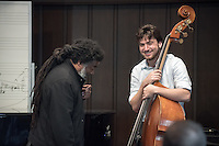 Pianist, composer and scholar Vijay Iyer and trumpeter, composer and educator Wadada Leo Smith teach a master class to students in Bird Studio on April 15, 2016. The two musicians also performed later in Thorne Hall as part of the 2016 Hume Fellows Concert, marking the release of their duo recording of new compositions.<br /> (Photo by Marc Campos, Occidental College Photographer)