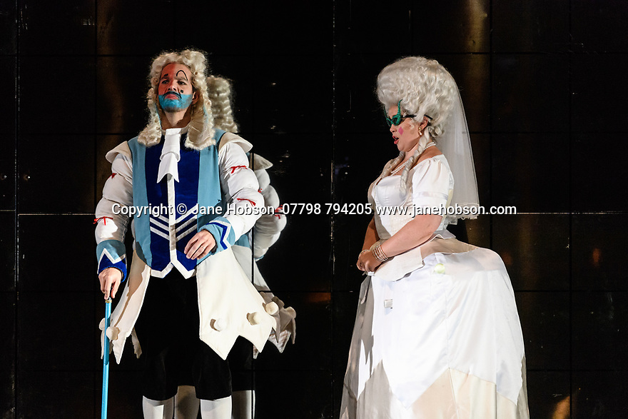 "Cardiff, UK. 03.10.2018. Welsh National Opera presents ""LA CENERENTOLA"", by Rossini, at the Wales Millennium Centre. The production is directed by Joan Font, with design by Joan Guillén and lighting design by Albert Faura. The cast is: Aoife Miskelly (Clorinda), Heather Lowe (Tisbe), Tara Erraught (Angelina), Wojtek Gierlach (Alidoro), Fabio Capitanucci (Don Magnifico), Matteo Macchioni (Don Ramiro), Giorgio Caoduro (Dandini). The rats are: Colm Seery, Dario Sanz Yague, Ashley Bain, Meri Bonet, Lucy Burns, Maria Comes Sampedro, Lauren Wilson. <br /> Photograph © Jane Hobson."