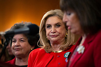 United States Representative Carolyn Maloney (Democrat of New York), alongside several House Democrats and advocates for the amendment, listens during a news conference on removing the deadline for ratifying the Equal Rights Amendment at the United States Capitol in Washington D.C., U.S. on Wednesday, February 12, 2020.  <br /> <br /> Credit: Stefani Reynolds / CNP/AdMedia