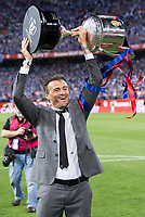 FC Barcelona's coach Luis Enrique Martinez with the trophy after Copa del Rey (King's Cup) Final between Deportivo Alaves and FC Barcelona at Vicente Calderon Stadium in Madrid, May 27, 2017. Spain.<br /> (ALTERPHOTOS/BorjaB.Hojas) /NortePhoto.com