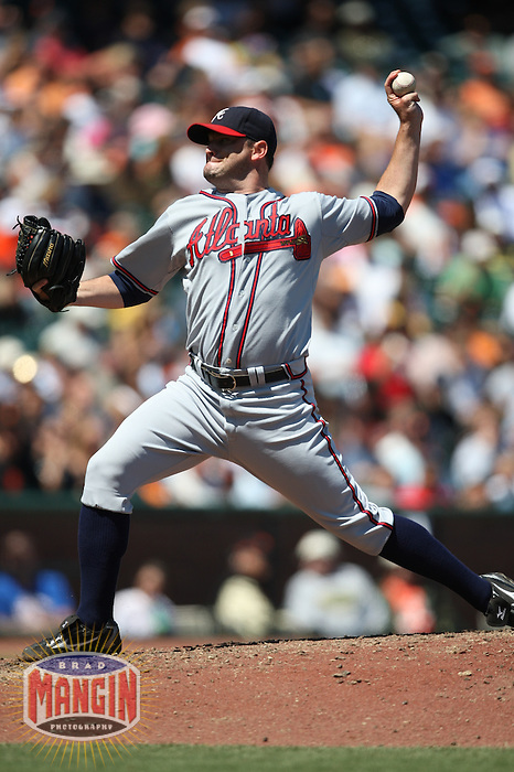 SAN FRANCISCO - AUGUST 6:  Will Ohman of the Atlanta Braves pitches during the game against the San Francisco Giants at AT&T Park in San Francisco, California on August 6, 2008.  The Giants defeated the Braves 3-2.  Photo by Brad Mangin