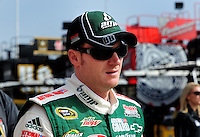 Oct. 10, 2009; Fontana, CA, USA; NASCAR Sprint Cup Series driver Dale Earnhardt Jr during practice for the Pepsi 500 at Auto Club Speedway. Mandatory Credit: Mark J. Rebilas-